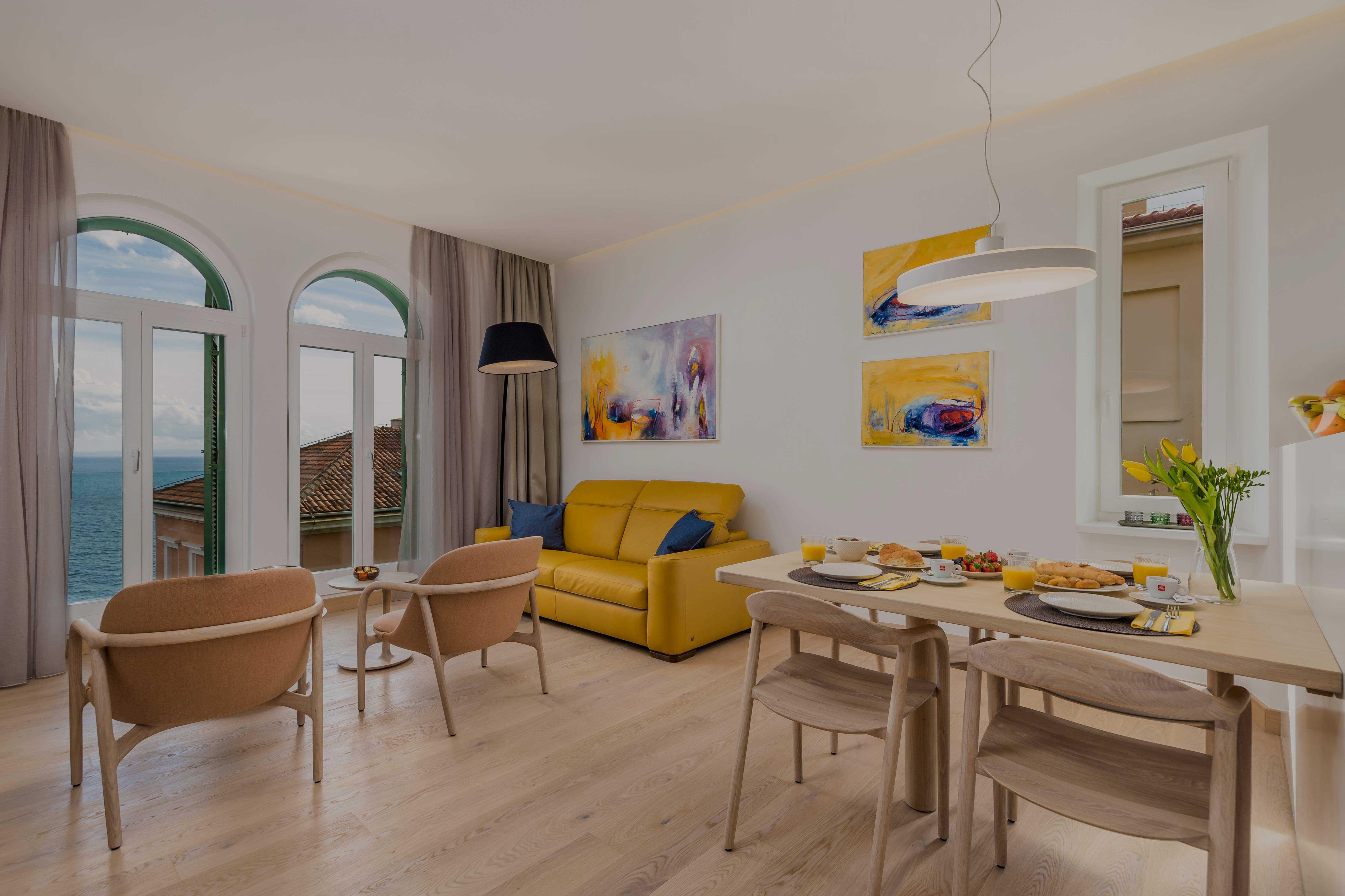 doručak, apaprtman OLA, pogled na more, luksuzni apartman, opatija, kvarner, hrvatska